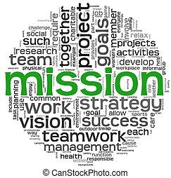 mission, begrepp, in, ord, etikett, moln