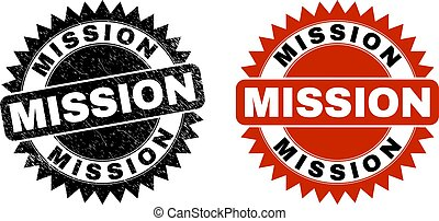 MISSION Black Rosette Watermark with Grunge Surface