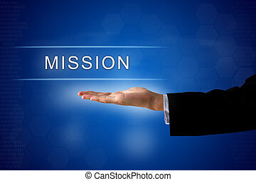 mission button on virtual screen - mission button with...