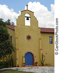 Mission Church 1 - A colorful, Mexican adobe-style mission...