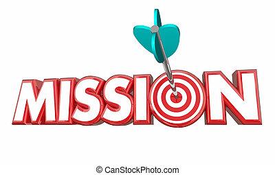 mission, cible, but, rencontré, reussite, 3d, illustration