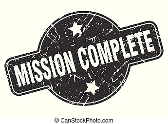 mission complete round grunge isolated stamp
