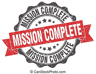 mission complete stamp. sign. seal