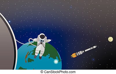 Mission concept vector illustration. Astronauts in station and outer space. Cosmonauts flying no gravity. Rocket launch