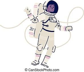 mission., falować, spacesuit, badacz, ruchomy, samica, ...