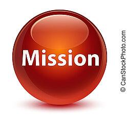 Mission glassy brown round button
