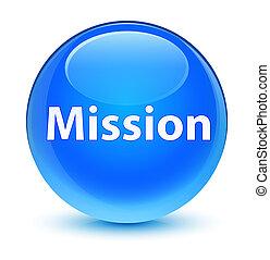 Mission glassy cyan blue round button