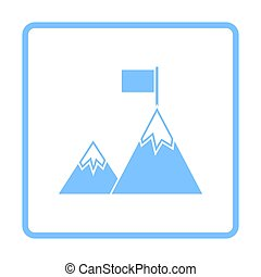 Mission Icon. Blue Frame Design. Vector Illustration.