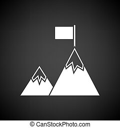 Mission Icon. White on Black Background. Vector...