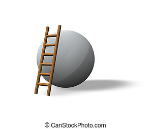 mission impossible - ball and ladder on white background -...