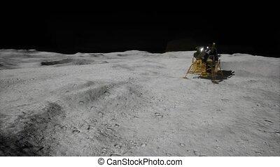 mission, lunaire, atterrissage lune