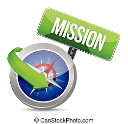 Mission on a compass illustration design over white