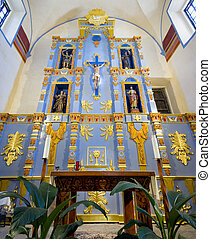 Mission San Jose Chapel - Interior view of the ornate...
