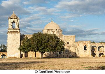 Mission San Jose in San Antonio, Texas at Sunset