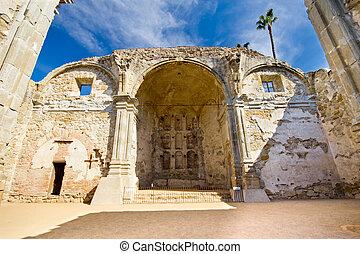 Mission San Juan Capistrano - Great Stone Church at historic...