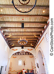 Mission San Luis Obispo de Tolosa, Basilica, Wooden Ceiling, Chandelier, San Luis Obispo California. Founded 1772 by Father Junipero Serra. Named for Saint Louis of Anjou