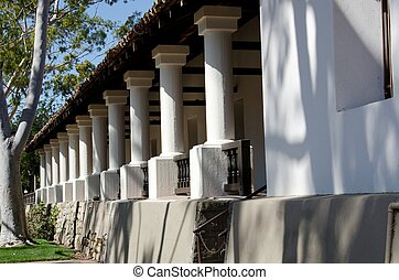 The side and columns of the Mission at San Luis Obispo in Central California.