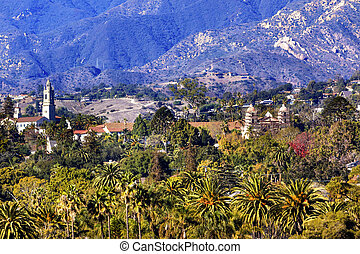 Mission Santa Barbara Mountains Palm Trees California