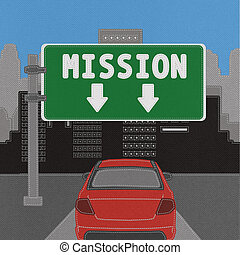 Mission sign concept with stitch style on fabric background