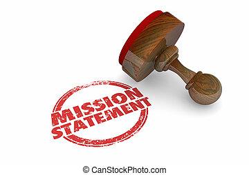 Mission Statement Goal Objective Stamp Words 3d Illustration