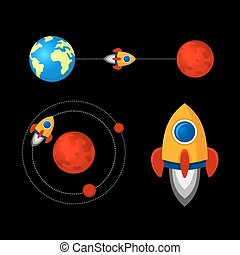 Mission to Mars Icons Set. Vector