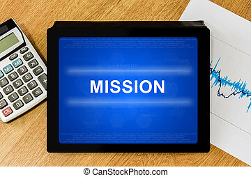 mission word on digital tablet