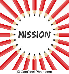 Mission word with pencil background stock vector