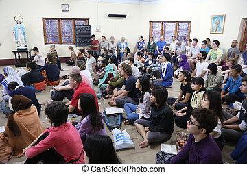 missionaries, のまわり, 固まり, 世界, ボランティア, 慈善