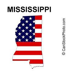 missisippi, estados unidos de américa, rayas, estado, diseño, estrellas