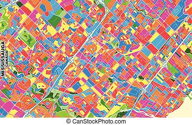 Mississauga, Ontario, Canada, colorful vector map