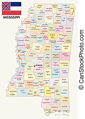 mississippi administrative and political map with flag