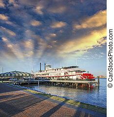 mississippi, bateaux, célèbre, orleans., nouveau, rivière