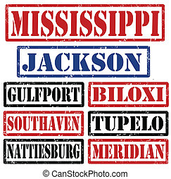 Mississippi Cities stamps - Set of Mississippi cities stamps...