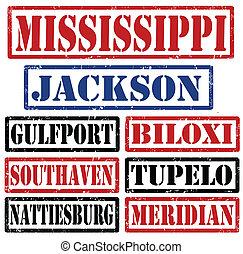 mississippi, città, francobolli