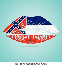 Mississippi Flag Lipstick On The Lips Isolated On A White Background. Vector Illustration. Kiss Mark In Official Colors And Proportions. Independence Day