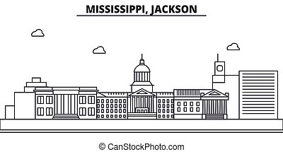 Mississippi, Jackson architecture line skyline illustration...