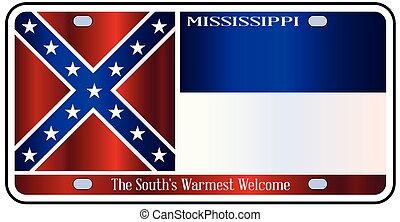 Mississippi License Plate Flag - Mississippi state license...