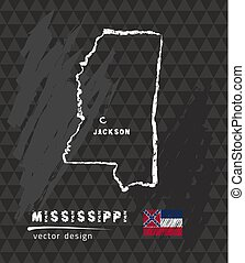 Mississippi map, vector pen drawing on black background