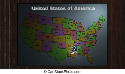 Mississippi map zooms out of usa. Mississippi animated map video ...