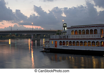 Mississippi River and Boat at Sundown - Riverboat on...