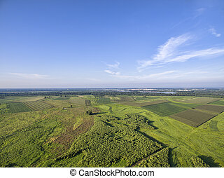 MIssissippi River and farmland aerial view