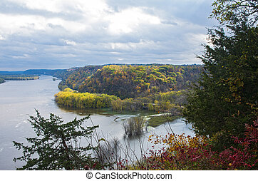Mississippi River and Woodlands During Autumn in Iowa