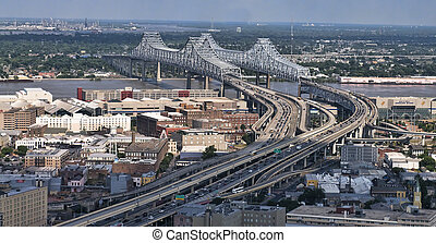 Mississippi River Bridge Aerial - This is an aerial view of...
