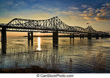 A view of the Mississippi River Bridge at sunset, near Vicksburg.