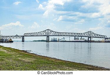 Mississippi River Bridge in Baton Rouge Louisiana -...