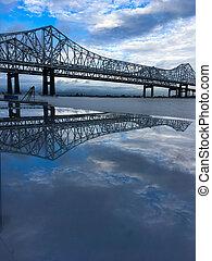 Mississippi River Bridge reflection - Mississippi River...