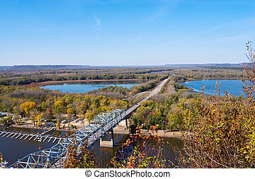 Mississippi River from Barn Bluff - aerial view of highway...