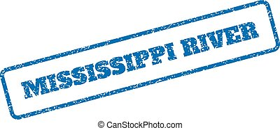 Blue rubber seal stamp with Mississippi River text. Vector message inside rounded rectangular banner. Grunge design and unclean texture for watermark labels. Inclined emblem on a white background.