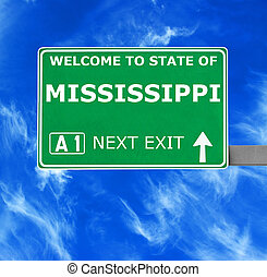 MISSISSIPPI road sign against clear blue sky