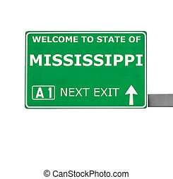 MISSISSIPPI road sign isolated on white